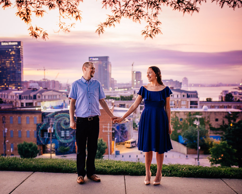Federal Hill Sunrise engagement portraits - Baltimore Maryland Wedding Photography
