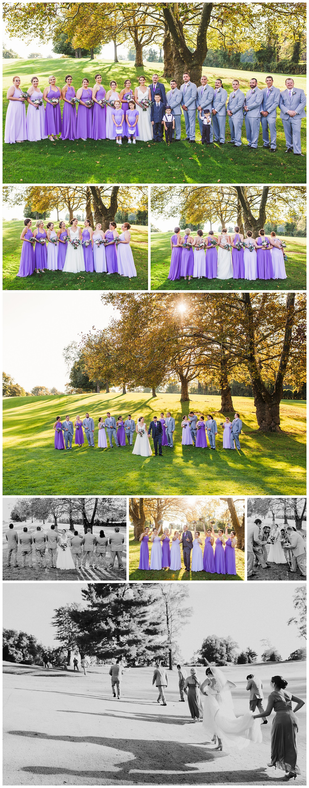 Purple and Violet hues for the bridal party at Rolling Roads Golf Course - Maryland Wedding Venue