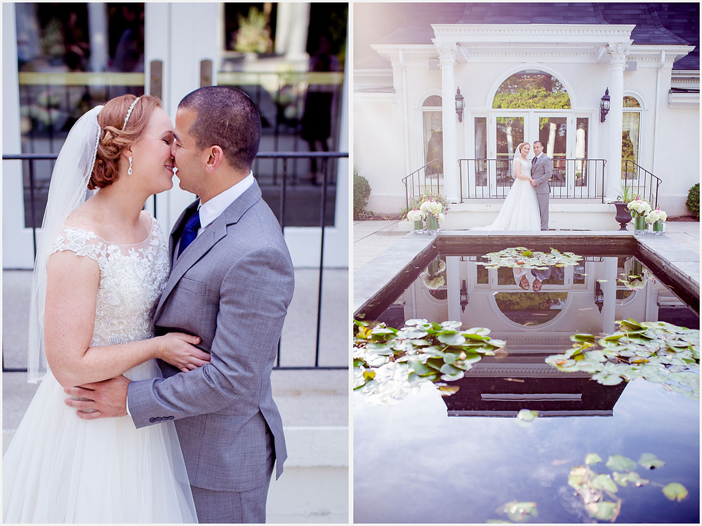 Bride and Groom Ceresville Mansion reflection pool