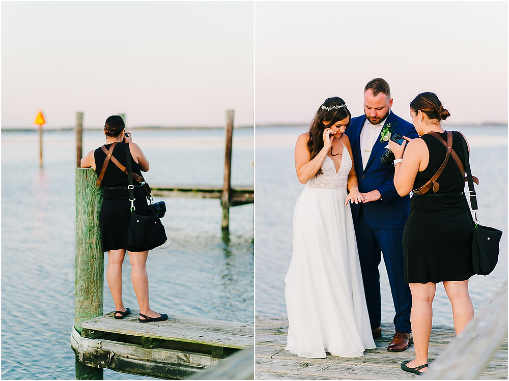 Annapolis Wedding Photographer behind the scenes photos on pier