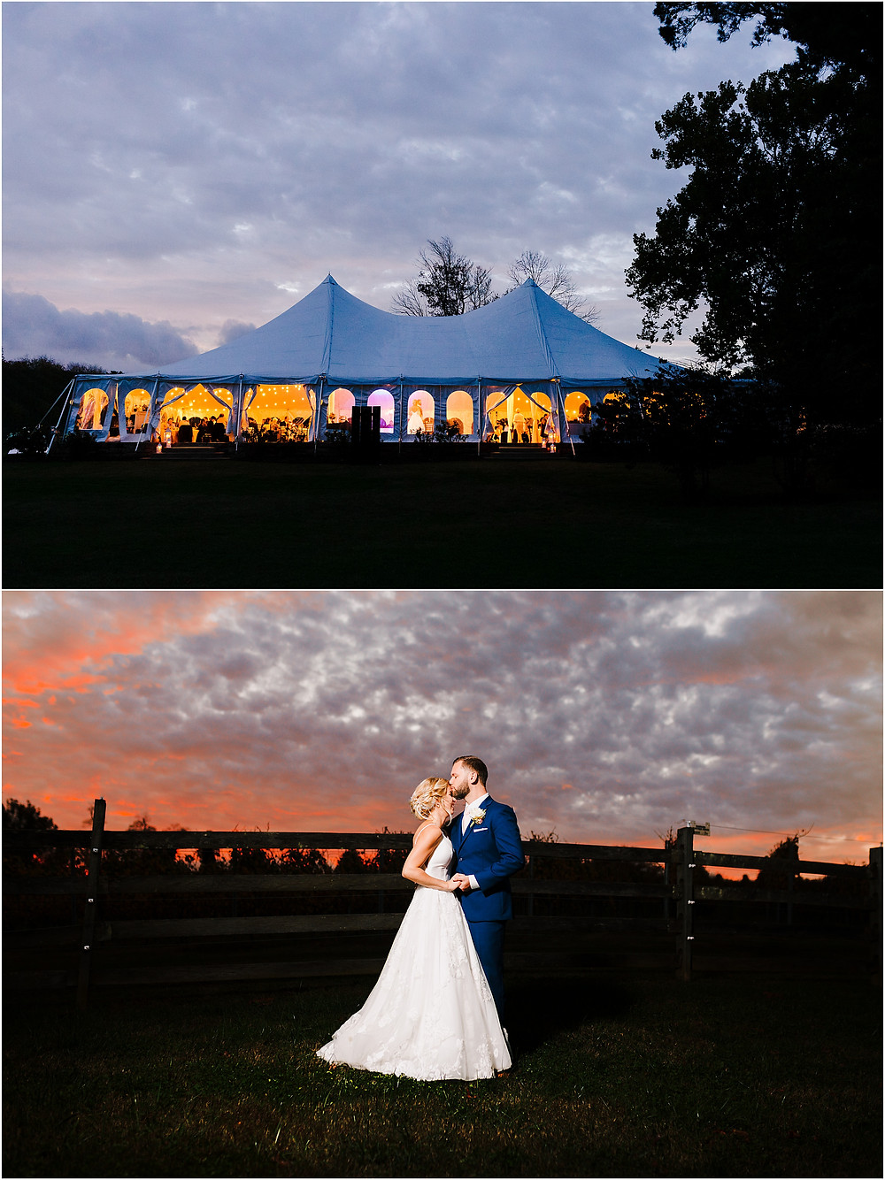Sunset over the tent at Bohemia Overlook Wedding Baltimore Wedding Photographer