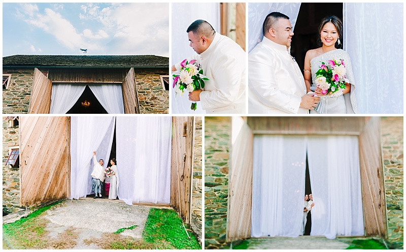 Sylvanside Farm Thai Wedding Ceremony outside Stone Barn