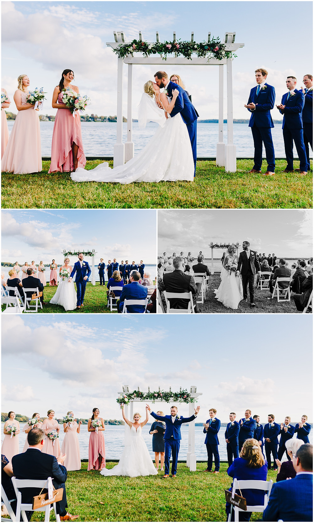 Sunset ceremony at Bohemia Overlook beach venue wedding, baltimore wedding photographer