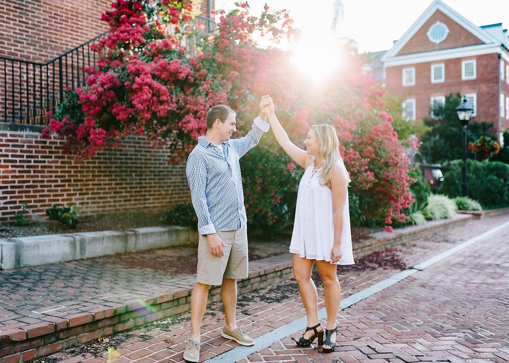 By a crepe myrtle, downtown Annapolis Engagement Portraits