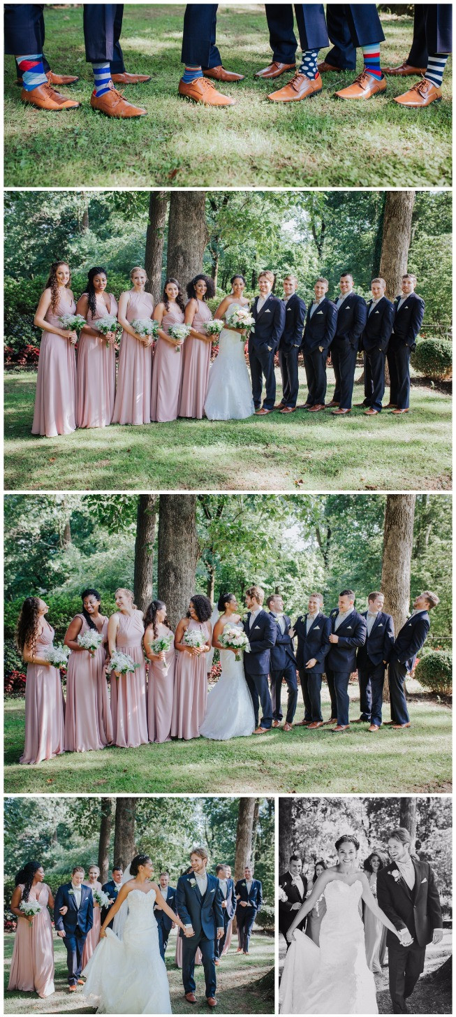 Dusty Rose and Navy Bridal Party portraits at Maryland Wedding Venue Gramercy mansion