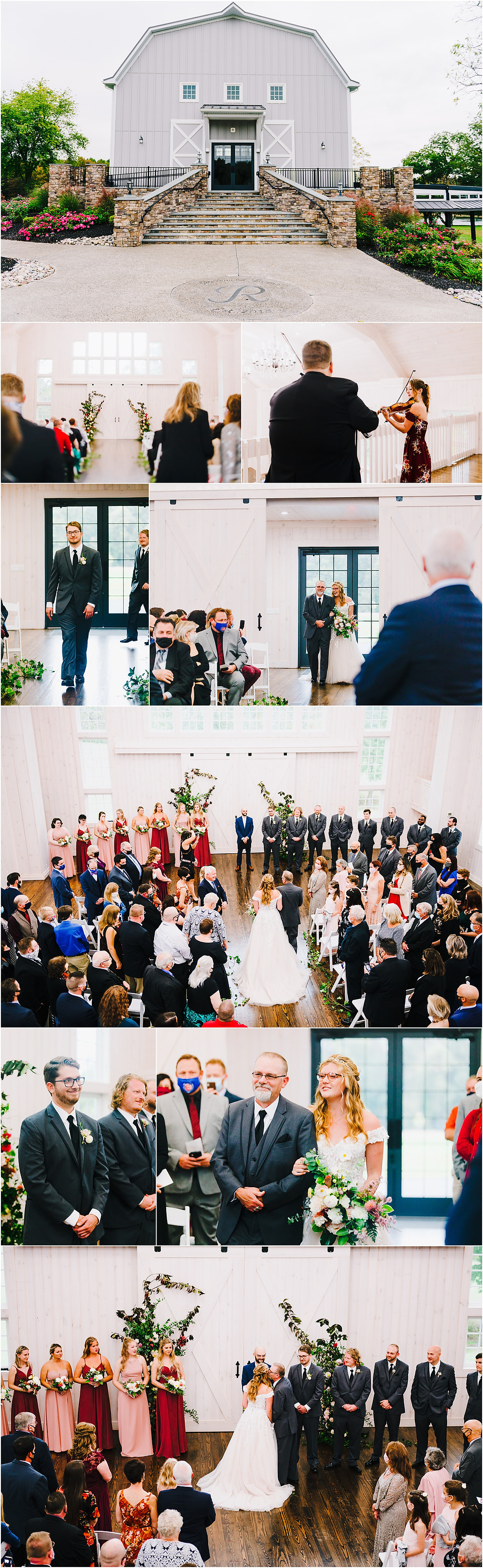 Wedding Ceremony at the rustic barn, Rosewood Farms Wedding
