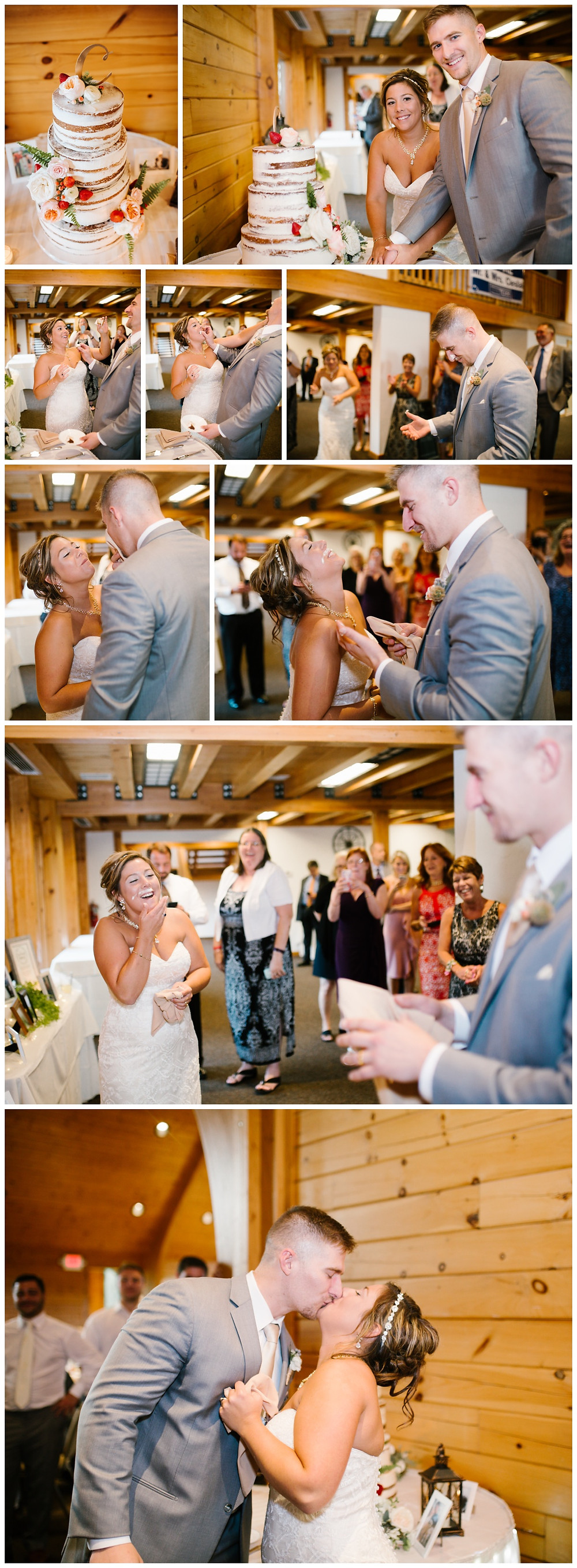 Cutting the cake - Liberty Mountain Boulder Ridge Lodge Wedding - Maryland Wedding Photographer - Katherine Elizabeth Photography