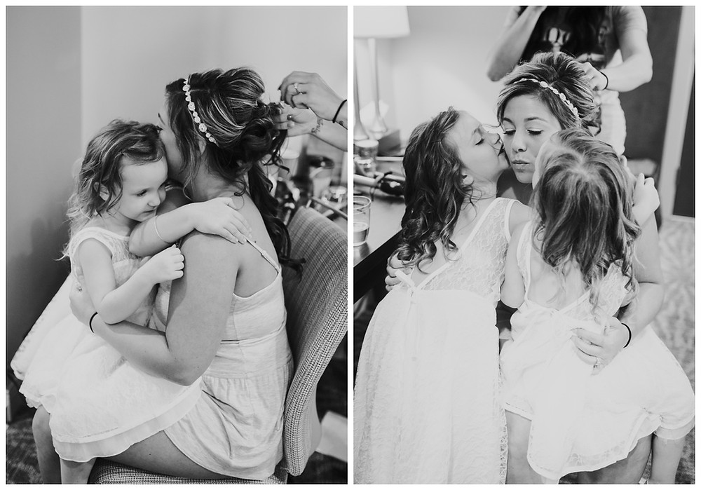 Flower girls hugging the bride - Liberty Mountain Wedding - Katherine Elizabeth Photography