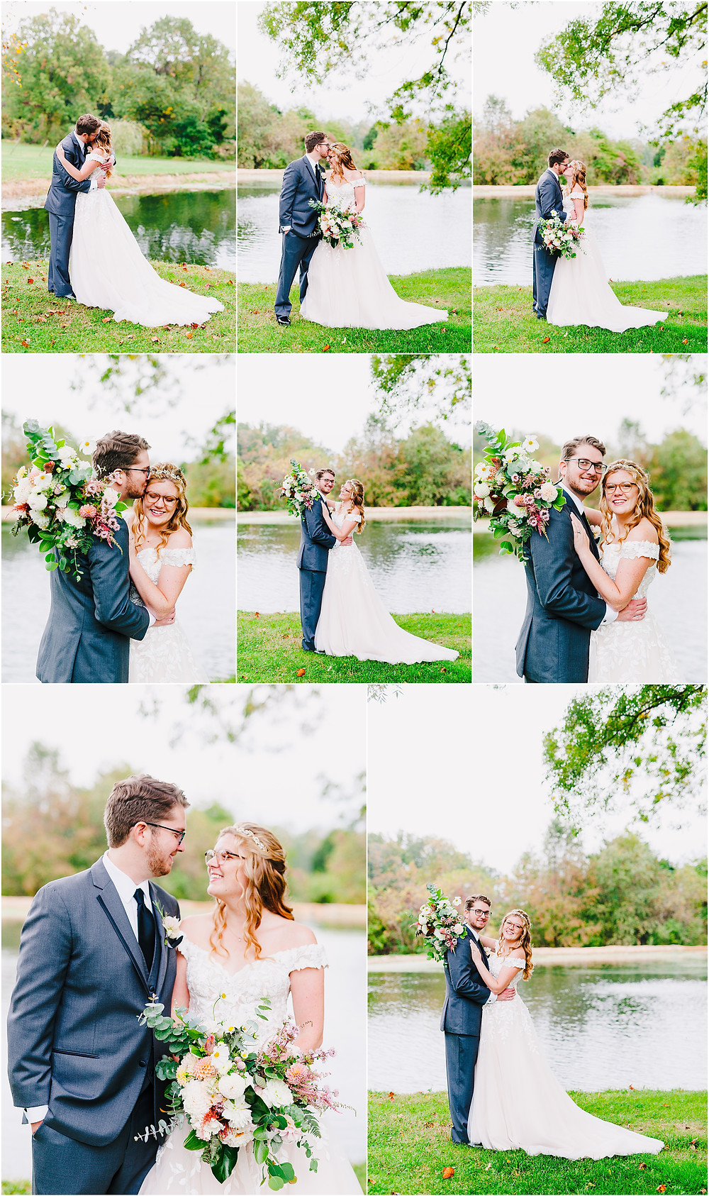 Fall bridal portraits by Rosewood Farms pond. Maryland Wedding Photographer