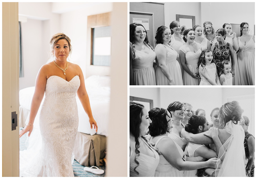 First Look with the bridesmaids - Liberty Mountain Wedding - Katherine Elizabeth Photography