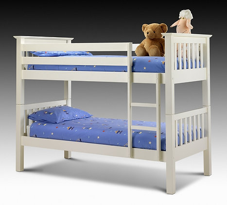 Barcelona Bunk Bed in Stone White Finish