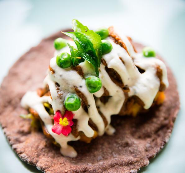 Sweet Potato, Finger Millet Tortilla, with Sambar & Chutney