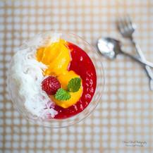 Falooda/Faluda/Faloodah | Mango Sorbet | Rasberry Soft Jelly | Sweet Basil Seeds | Coconut Cream