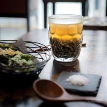 Black Sesame Noodles | Kombu Porcini Broth | Tempura of Green Chilli | Spinach | Baby Zucchini