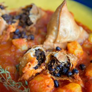Adzuki Tempeh Samosa | Tomato Potato Curry
