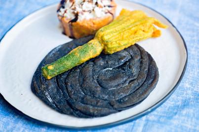 Charcoal Prata | Zucchini Flower Pakoda | South Indian Kurma | Mozzarella | Balsamic Reduction
