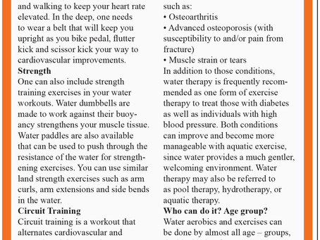 Working out in Water, By Reema Sarin, Founder BOLLYFIT