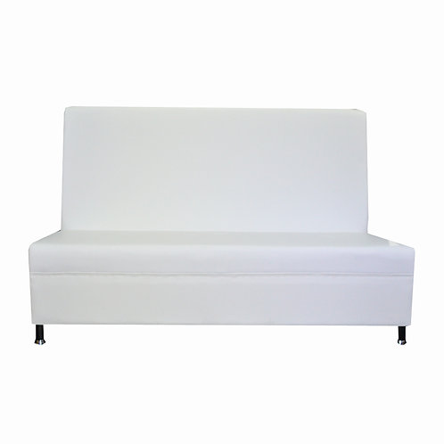 Sleek Tall Back Sofa - White Leather