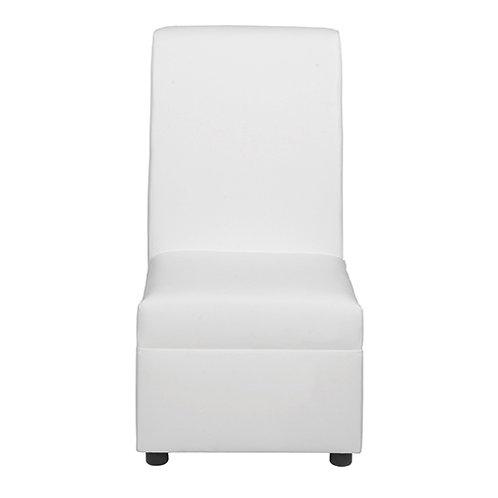 Sleek Tall Back Chair - White Leather