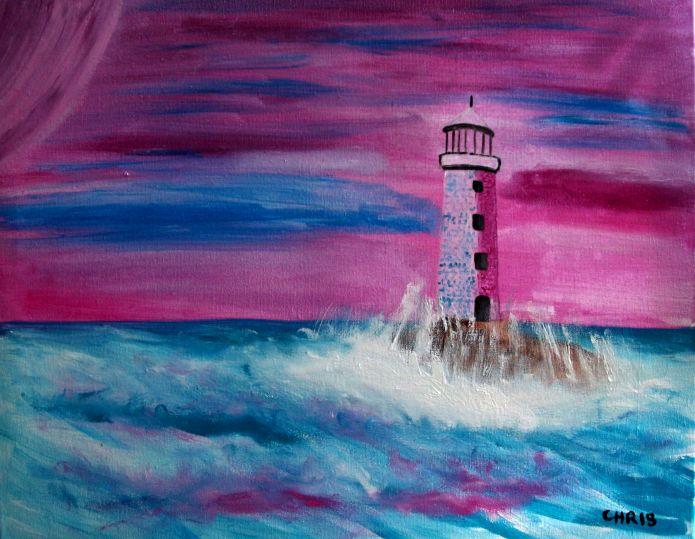 le phare rose huile sur toile  30X40