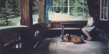 """""""Lichtung"""", 2015, Öl auf Leinwand, 170 x 85 cm"""