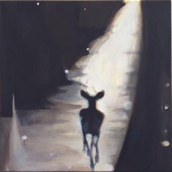 """""""Reh"""", 2015, Öl auf Leinwand, 50 x 50 cm"""