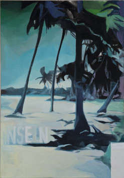 """Inseln im Strom"", 2012, Öl auf Leinwand, 90 × 130 cm"