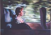 """Mädchen im Zug"", 2016, Öl auf Leinwand, 130 x 95 cm"