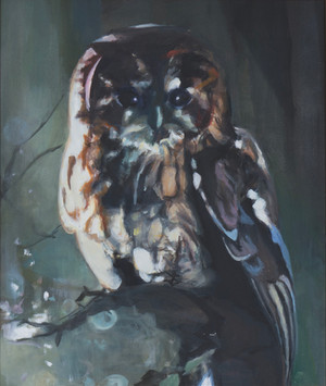 """""""Eule"""", 2015, Öl auf Leinwand, 51 × 60 cm"""
