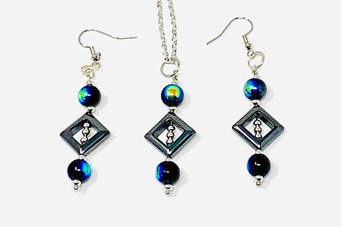 Art Deco Style Necklace and Earrings Set