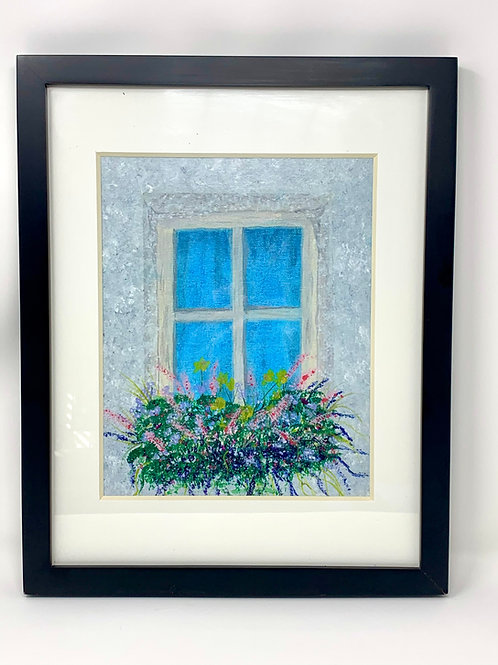 window flowers original acrylic framed and matted front view