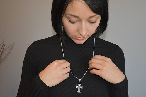 Jeweled Cross necklace front view