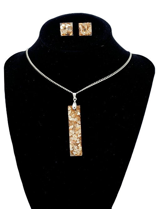 Metallic Hearts Necklace and earring set