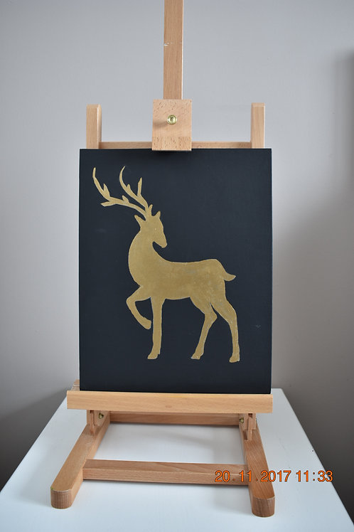 "Gold Reindeer Silhouette - 14""x11"" canvas board - Original"