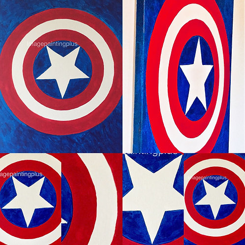Captain America Shield acrylic painting front view