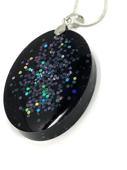 Black Sparkle Necklace - Oval - front view