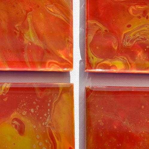 Ceramic Coasters-Golden Orange-Acrylic/Resin front view