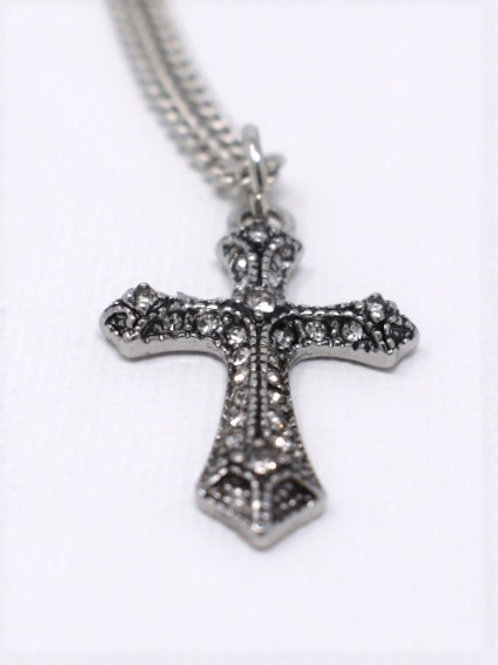 Metal and Rhinestone Cross Necklace front view