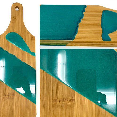 Paddle Board Style - Bamboo Charcuterie -Teal front view