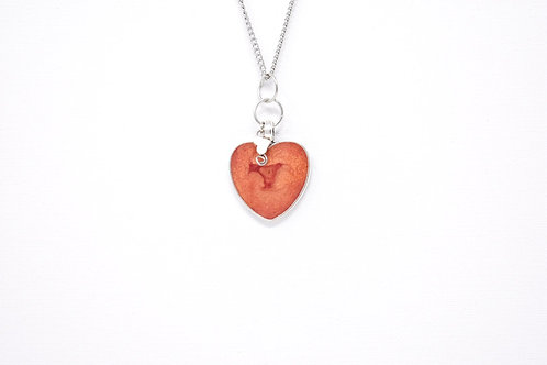 Rose Gold Heart pentant with embellishment front view