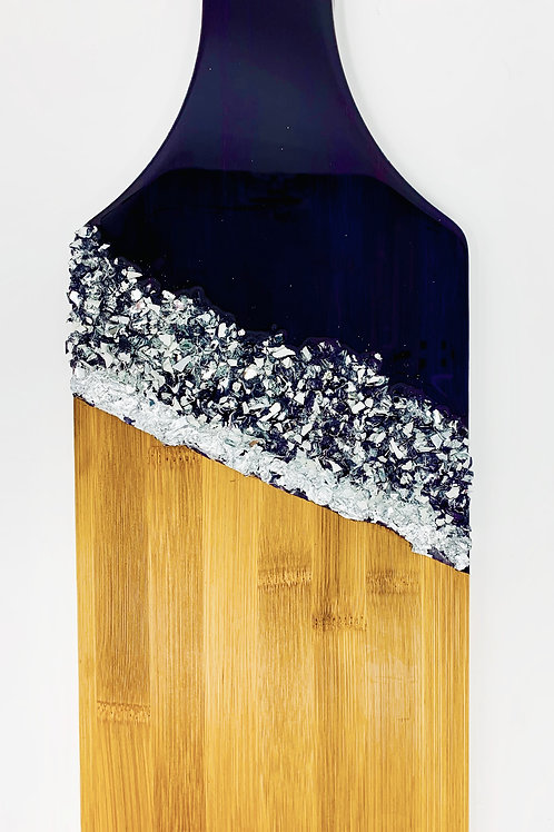 Deep Purple,Bamboo Charcuterie Board with silver gilding front view