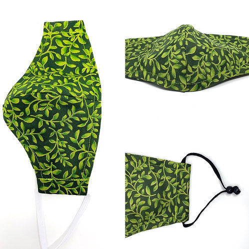 Face Mask - Green Vine print