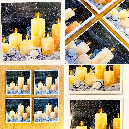 Christmas Candle Coasters set