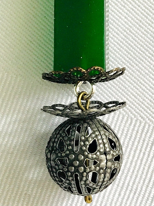 Green boho style pendant-front view