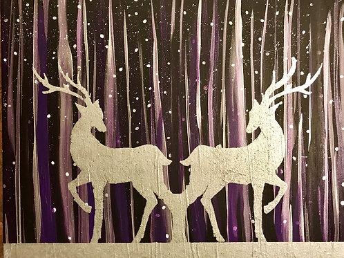 "Silver Reindeer - 16""x20"" - Acrylic/Metallic - Original"