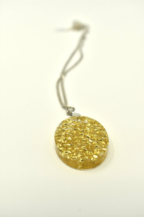 Necklace - gold metallic shapes in resin front view