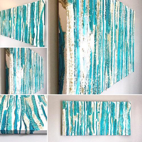 "Alluring Cascade - Resin Wall Art - 48""x24""x2"""