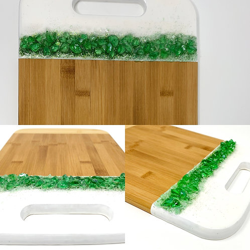 Charcuterie Board with handle -  Gleaming Greens multi view