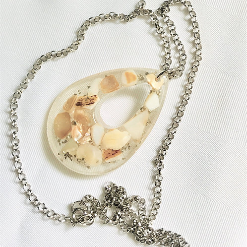 Seashell Resin Pendant and chain front view
