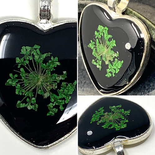 Black with Dried Green Flower - Silver plate Heart Pendant - front view